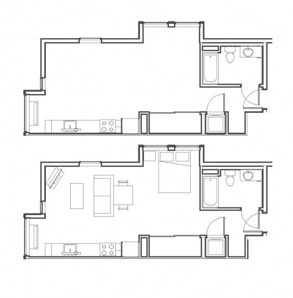 Studio 559 sq ft floorplan