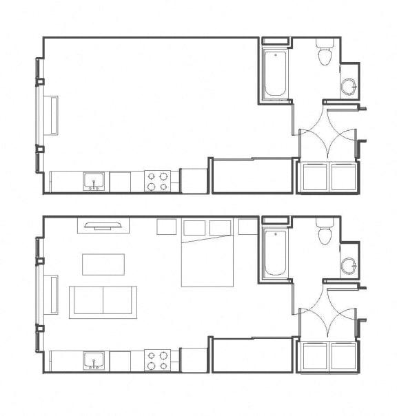 Studio 499 sq ft floorplan