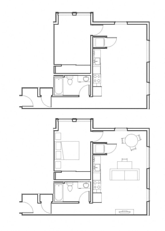 1 Bed - 1 Bath 693 sq ft floorplan