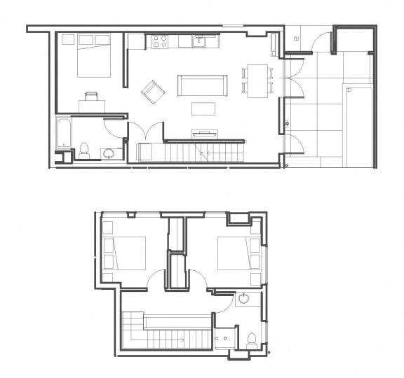 2 Bed - 2 Bath 1282 sq ft floorplan