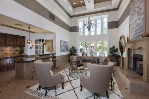 Elegant Clubroom with Kitchen, Fireplace, & TV