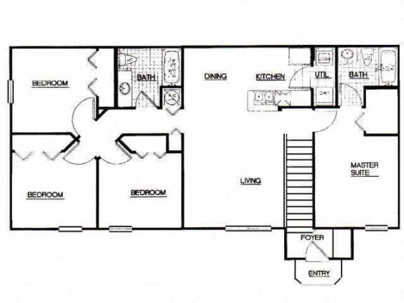 4 Bed, 2 Bath, 1270 sq. ft. 4 Bedroom Lipposan floor plan