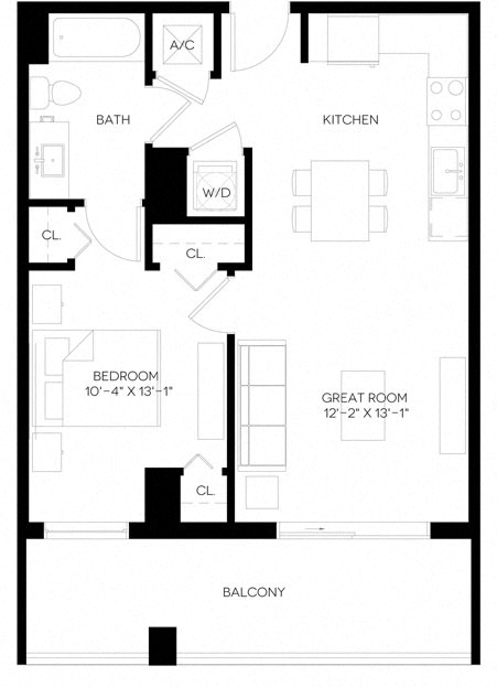 1 Bed 1 Bath 654 square feet floor plan A4