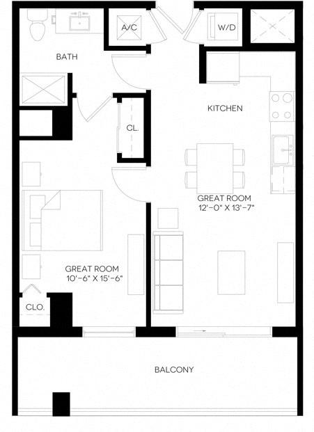1 Bed 1 Bath 655 square feet floor plan A5