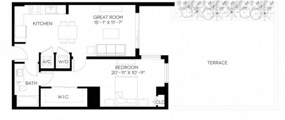 1 Bed 1 Bath 755 square feet floor plan A5-A
