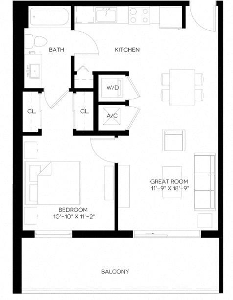 1 Bed 1 Bath 668 square feet floor plan A6