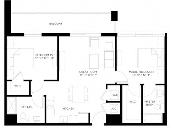 2 Bed 2 Bath 955 square feet floor plan B