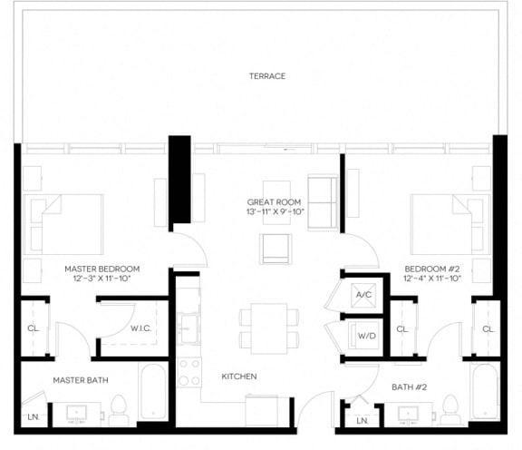2 Bed 2 Bath 983 square feet floor plan B1-A