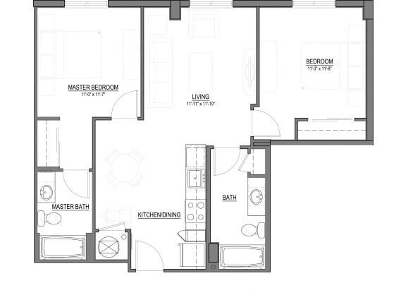 Floor Plan  B3 2 Bed - 2 Bath |897 sq ft floorplan