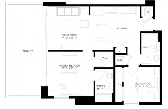 2 Bed 2 Bath 985 square feet floor plan B6-A