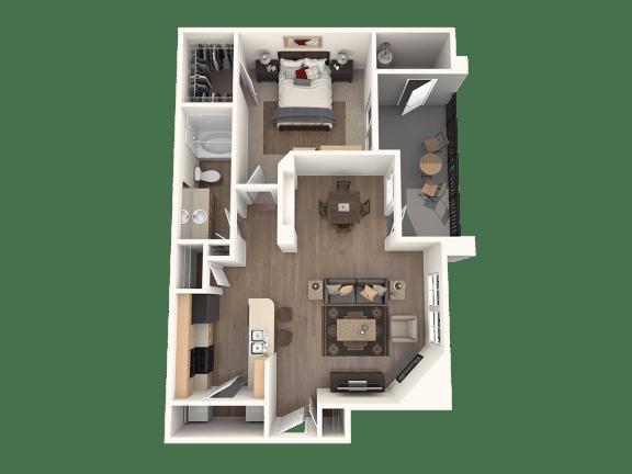 Breitling one bedroom one bathroom floor plan