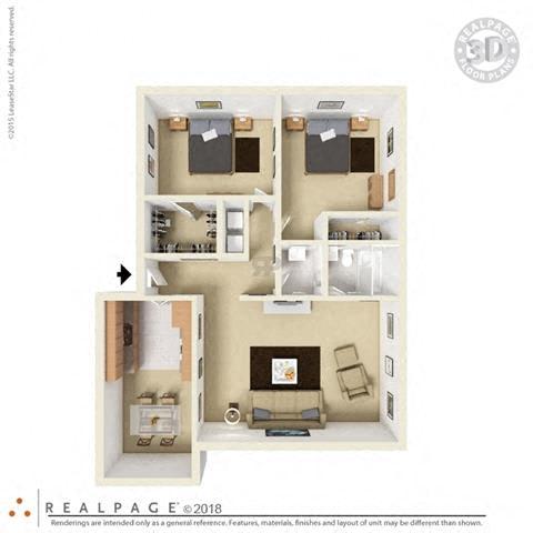 2 Bed, 1 Bath, 865 square feet floor plan 3d
