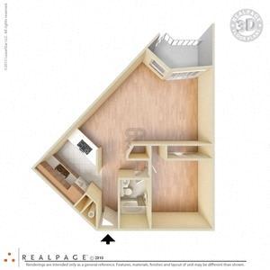 1 Bed, 1 Bath, 650 square feet floor plan Jr. 3d
