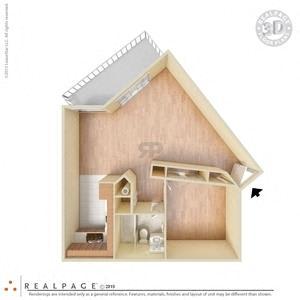 1 Bed, 1 Bath, 725 square feet floor plan Large 3d