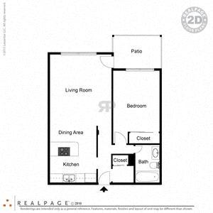 1 Bed, 1 Bath, 670 square feet floor plan Regular