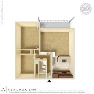 2 Bed, 1 Bath, 906 square feet floor plan 3d
