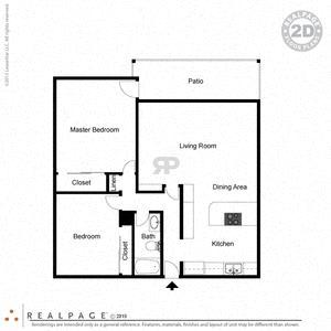 2 Bed, 1 Bath, 906 square feet floor plan