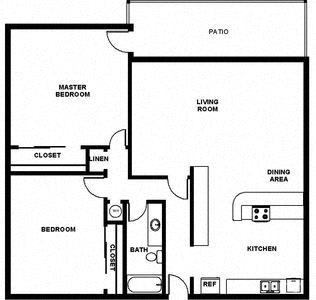 2 Bed, 1 Bath, 906 square feet floor plan 2