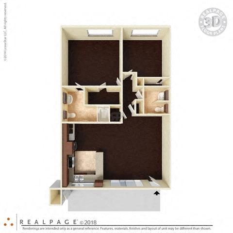 2 Bed, 1.5 Bath 940 square feet floor plan The Capistrano 3D