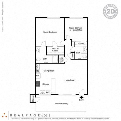 2 Bed, 1.5 Bath 940 square feet floor plan The Capistrano