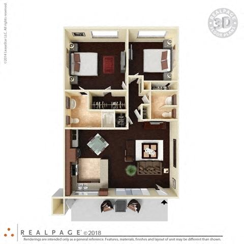 2 Bed, 1.5 Bath 940 square feet floor plan The Capistrano 3D furnished