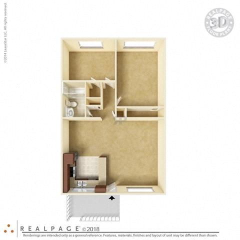 2 Bed 1 Bath 846 square feet floor plan The Solano 3D