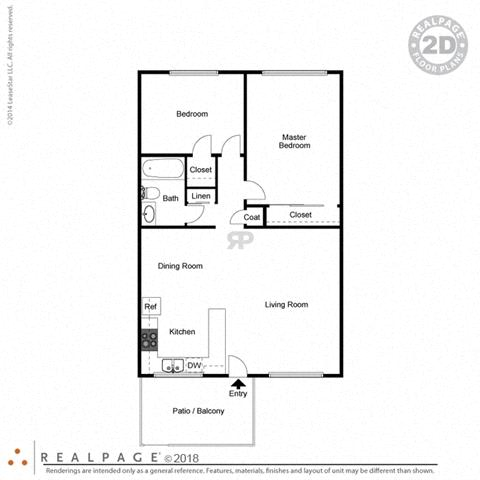 2 Bed 1 Bath 846 square feet floor plan The Solano