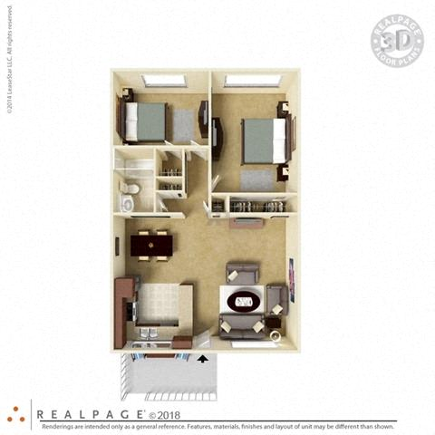 2 Bed 1 Bath 846 square feet floor plan The Solano 3D furnished
