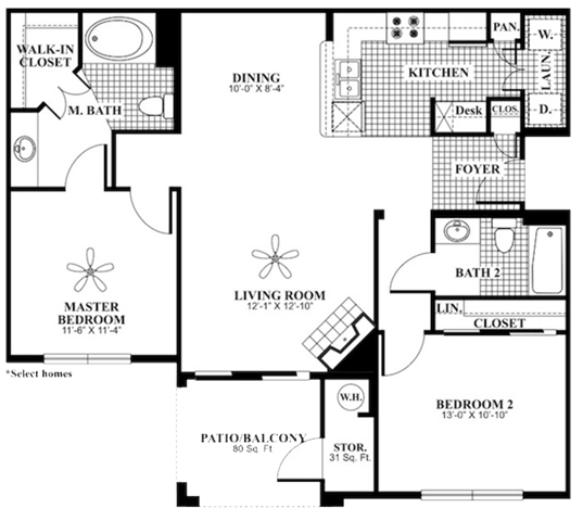 2 bed 2 Bath 1085 square feet Peace floor plan