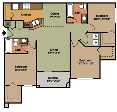3 Bed - 2 Bath |1306 sq ft floorplan