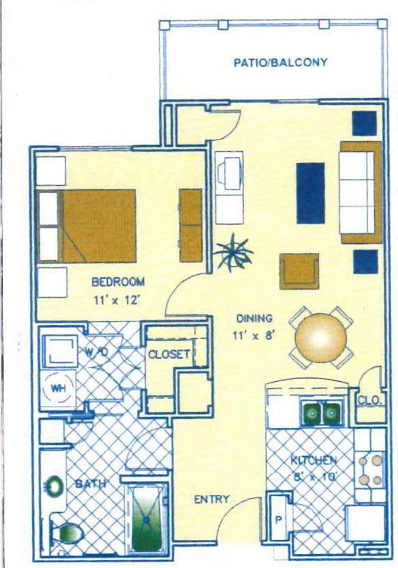 1 Bed - 1 Bath |717 sq ft floorplan