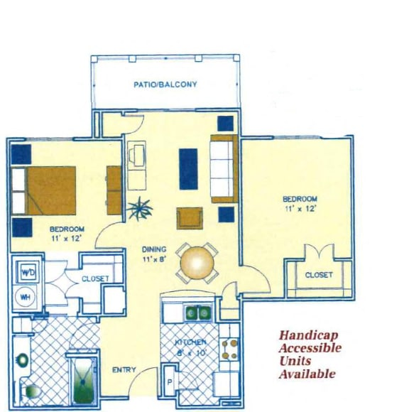 2 Bed - 1 Bath |1223 sq ft floorplan