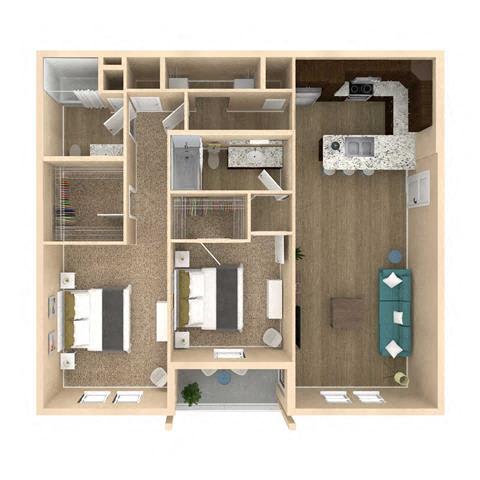 3d 2 Bed 2 Bath 1179 square feet floor plan Allure