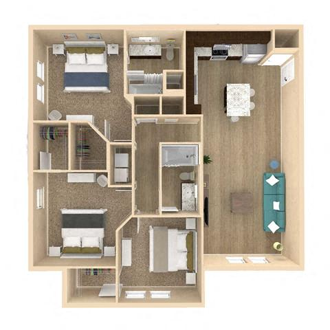 3d 3 Bed 2 Bath 1319 square feet floor plan Retreat