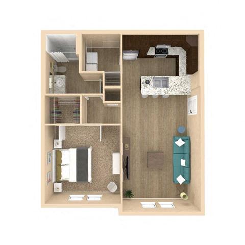 3d 1 Bed 1 Bath 802 square feet floor plan Sanctuary