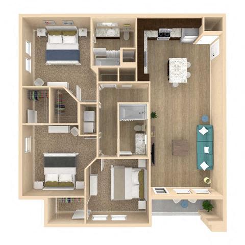 3d 3 Bed 2 Bath 1319 square feet floor plan Vista