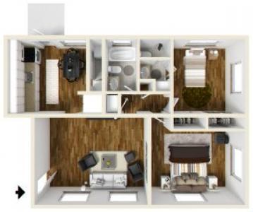 2 Bed - 1.5 Bath |900 sq ft Floorplan