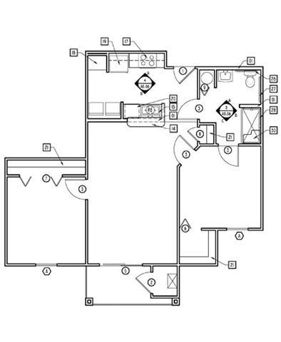 2 Bed - 1 Bath  929 sq ft floorplan