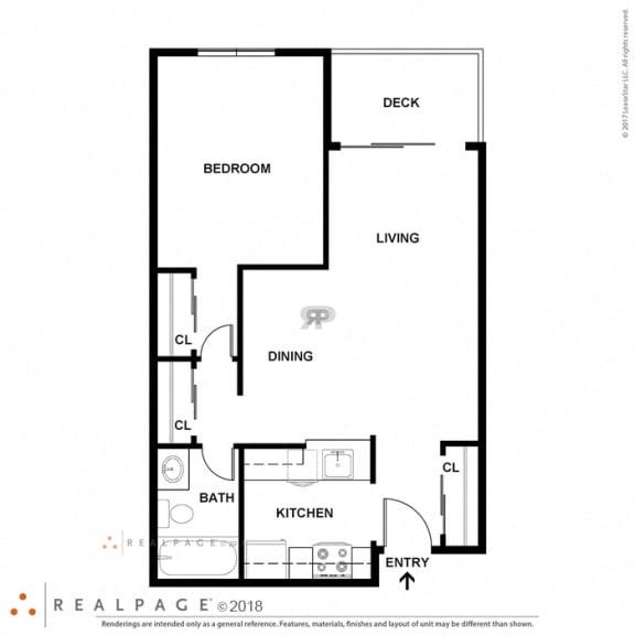 1 Bed 1 Bath 616 square feet floor plan A