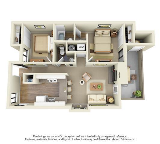 2 Bed, 1.5 Bath, 840 sq. ft. Pine