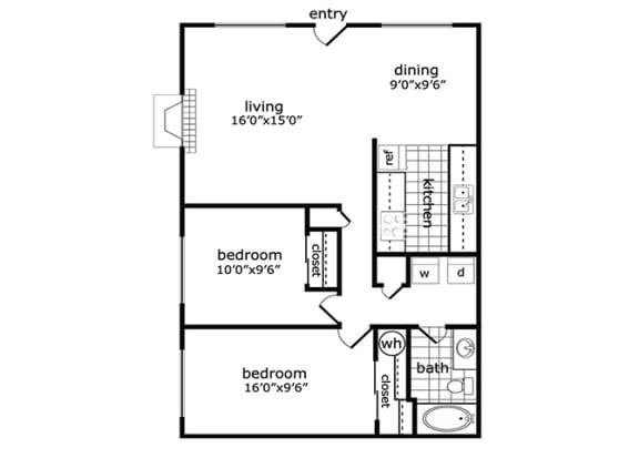 2 Bed, 1 Bath, 896 square feet floor plan Atrium