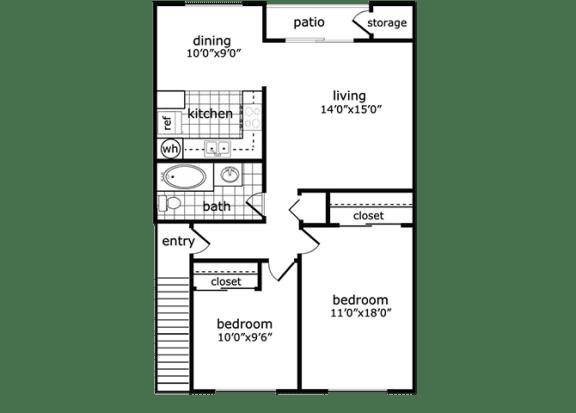 2 Bed, 1 Bath, 855 square feet floor plan Preserve