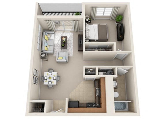 1 Bed, 1 Bath, 670 sq. ft. floor plan