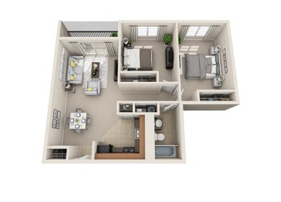 2 Bed, 1 Bath, 860 sq. ft floor plan