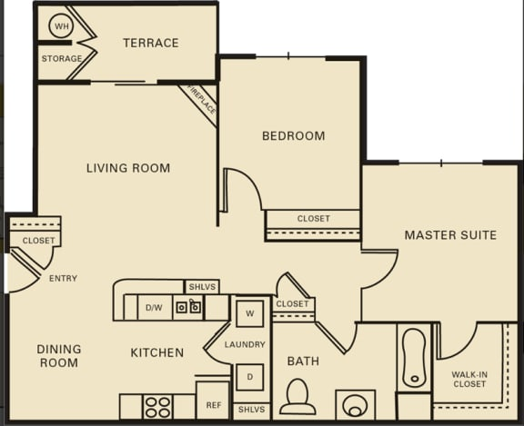 2 bed 1 bath 1071 square feet floor plan The Harvard