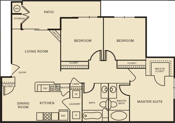 Floor Plan  3 bed 2 bath 1196 square feet floor plan The Yale