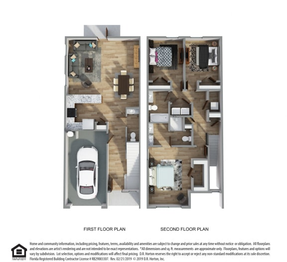 PLAN 1514, 3 Bed 2.5 Bath, 1514 SQ.FT.	floor plan, Palm A- Hardie Townhome- Exterior Unit