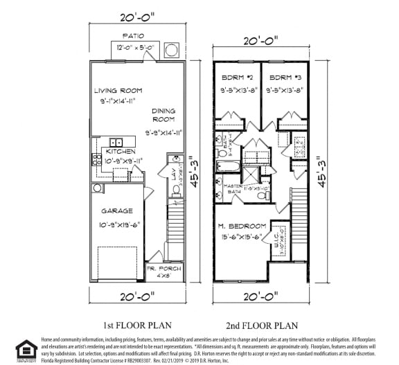 PLAN 1498, Palm B- Hardie Townhome- Interior Unit, 3 Bed 2.5 Bath, 1498 SQ.FT.  floor plan