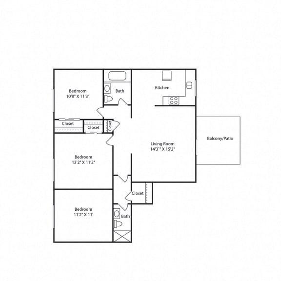 3 bed 3 bath floor plan_1006 sqft