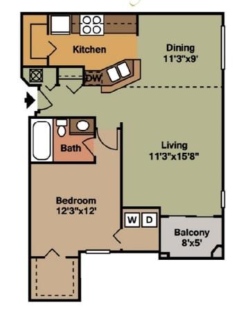 1 Bed - 1 Bath |846 sq ft floorplan